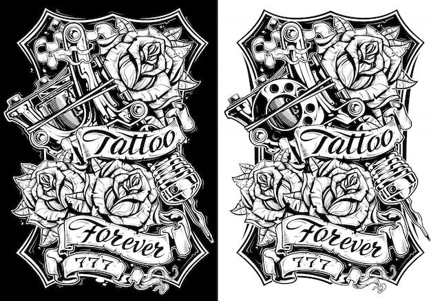 Máquina de tatuaje gráfico en blanco y negro y rosas