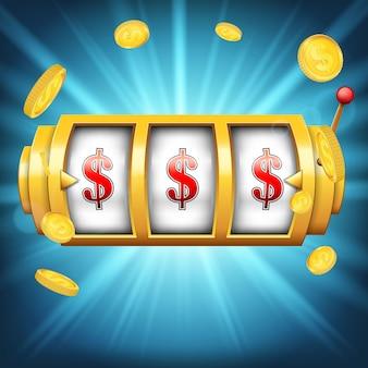Máquina tragamonedas de casino con gran victoria