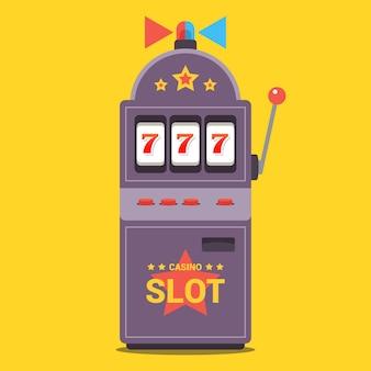 Máquina tragamonedas plana con luz intermitente. gana el premio gordo en el casino. se cayó el número 777. ilustración.