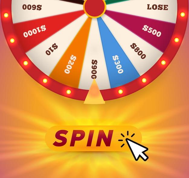 Máquina tragamonedas de la rueda de la fortuna en línea, ilustración del sitio web de juegos de azar. haga clic, gire y gane un colorido banner de aplicación de apuestas.