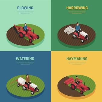 Maquinaria agrícola 4 composiciones isométricas