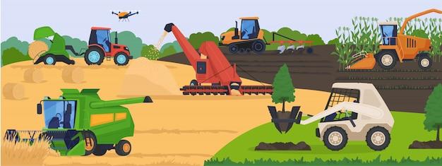 Maquinaria agrícola en campo, equipo de vehículo de cosecha y transporte rural, ilustración.