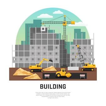 Maquinaria de construcción de edificios plana