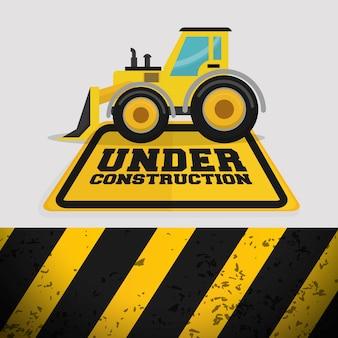 Maquinaria excavadora bajo signo de construcción
