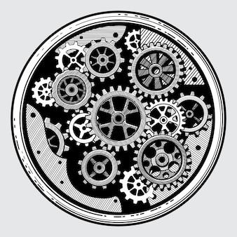 Maquinaria industrial vintage con engranajes. transmisión de rueda dentada en la mano dibujado ilustración de vector de estilo antiguo
