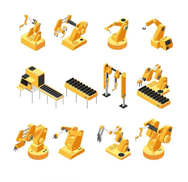 Maquinaria robot industrial, conjunto de vectores isométricos de brazo mecánico