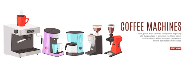 Máquinas de café de inscripción, colorido, tienda de máquinas, sitio de pedidos, ilustración, en blanco.