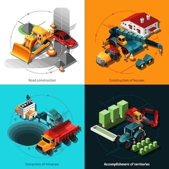 Máquinas de construcción isométrica