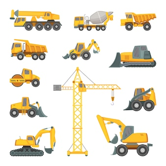 Máquinas de construcción pesada. excavadora, bulldozer y otras técnicas.