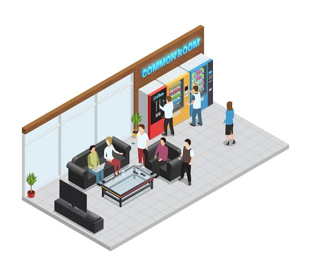 Máquinas expendedoras de composición isométrica con máquinas de café y snacks.