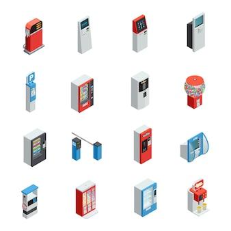 Máquinas expendedoras de iconos isométricos con máquinas de comida y estacionamiento.