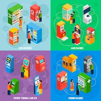 Máquinas expendedoras juegos isométricos iconos cuadrados