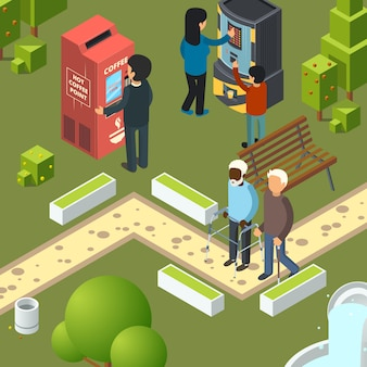 Máquinas expendedoras parque urbano. área de desayuno, gente de la ciudad de negocios que compra comida rápida, bocadillos, refrescos, bebidas, helado, ilustraciones isométricas
