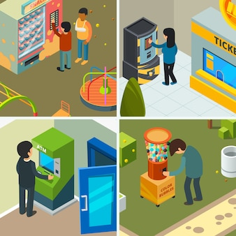Máquinas expendedoras. las personas que beben comiendo bocadillos de comida rápida chips de helado comprando en concepto de tienda automática imágenes isométricas