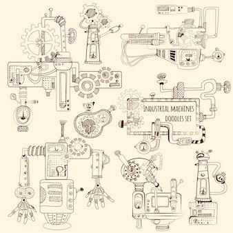 Máquinas industriales garabatos conjunto