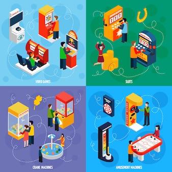 Máquinas de juego isométrica iconos cuadrados