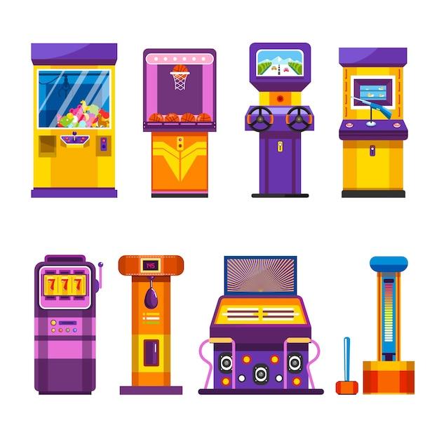 Máquinas de juego retro con joysticks y set de pantallas grandes.