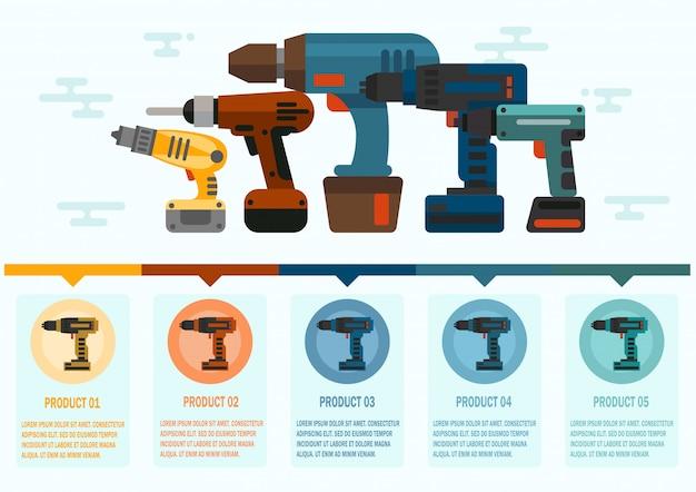 Máquinas de taladrar a mano plana vector web banner