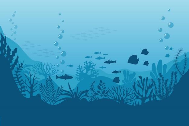 Mar bajo el agua. fondo oceánico con algas. escena marina