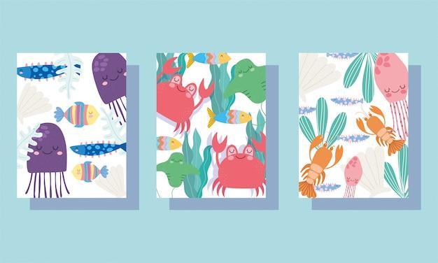 Bajo el mar, amplio paisaje de vida marina, caricatura, cangrejos de medusa, langosta, portada y folleto