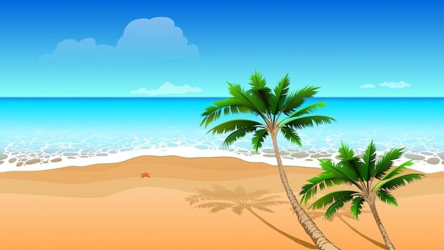 Mar azul claro, dos palmeras de coco en la playa de arena. paisaje tropical horizontal transparente