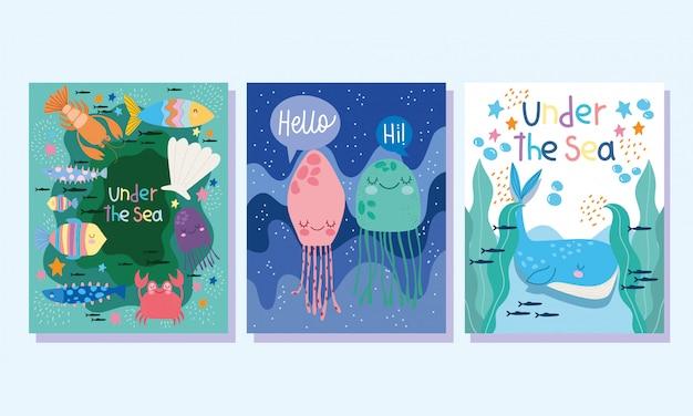 Bajo el mar, las ballenas, medusas, peces, cangrejos, algas, amplia vida marina, paisaje, caricatura, portada y folleto