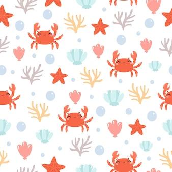 Mar y cangrejos lindos de patrones sin fisuras