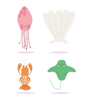 Bajo el mar, la langosta stingray medusa amplia vida marina paisaje de dibujos animados