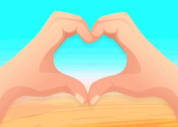 Mar y mano en forma de corazón