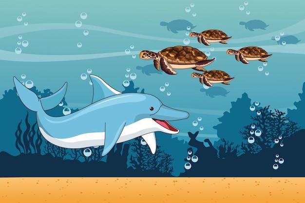 Mar con paisajes de delfines y tortugas.