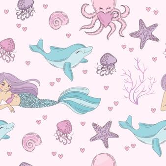 Mar patrón de patrones sin fisuras bajo el agua ilustración vectorial