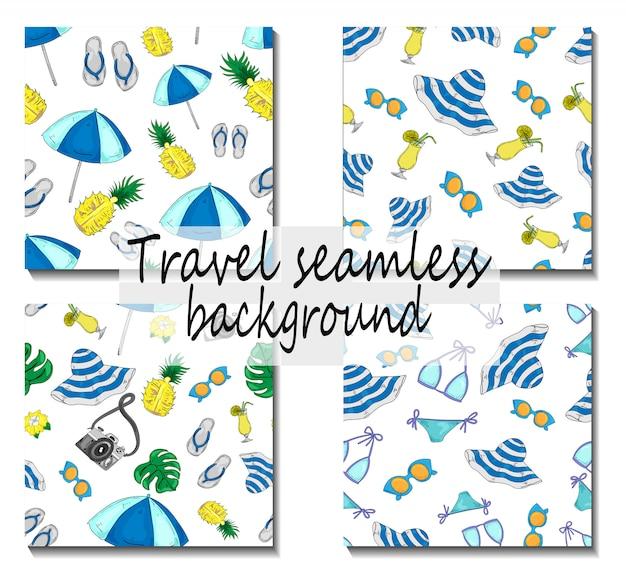 Mar de patrones sin fisuras vacaciones con accesorios de mar viajes
