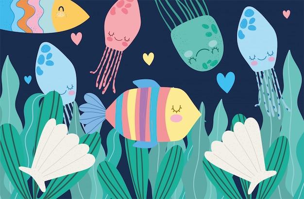 Bajo el mar, peces, conchas de medusas y algas, dibujos animados de paisajes de vida marina amplia