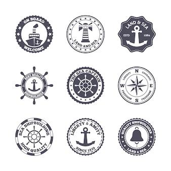 Mar port marítimo de transporte etiqueta negro conjunto aislado ilustración vectorial