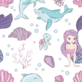 Mar textil sirena sin fisuras vector patrón
