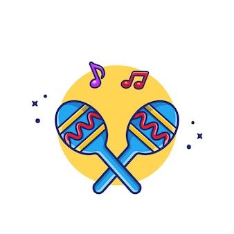 Maraca con notas musicales icono de dibujos animados ilustración. concepto de icono de instrumento de música premium aislado. estilo plano de dibujos animados