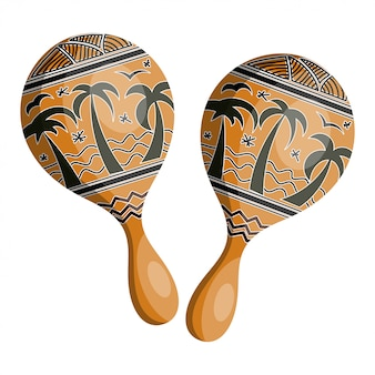 Maracas de madera en estilo tribal.