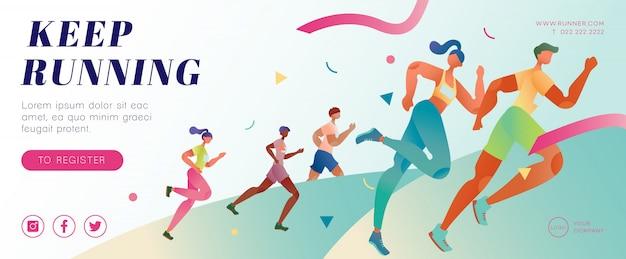 Maratón corriendo banner