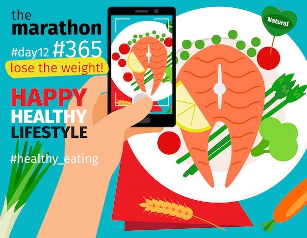 Maratón de dieta y pérdida de peso.
