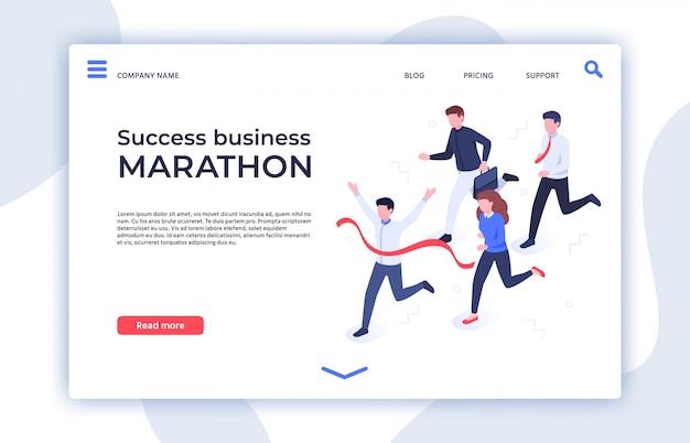 Maratón de éxito empresarial. inicio exitoso, empresario ganador y triunfo profesional página isométrica de la página de aterrizaje