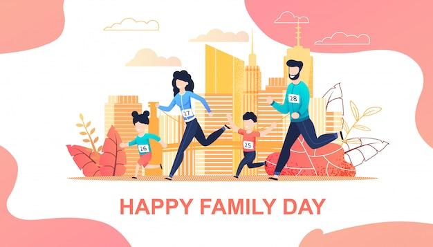 Maratón familiar corriendo en la ciudad plana de dibujos animados
