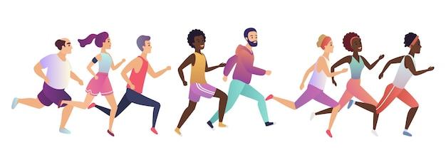 Maratón de gente corriendo para correr
