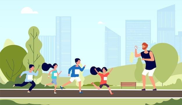 Maratón infantil. entrenamiento de atleta para niños, competencia de carrera. lección de deporte escolar en el parque