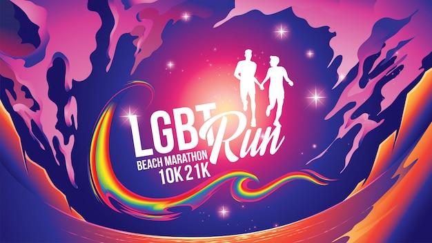 Maratón lgbt cerca del tema de la playa