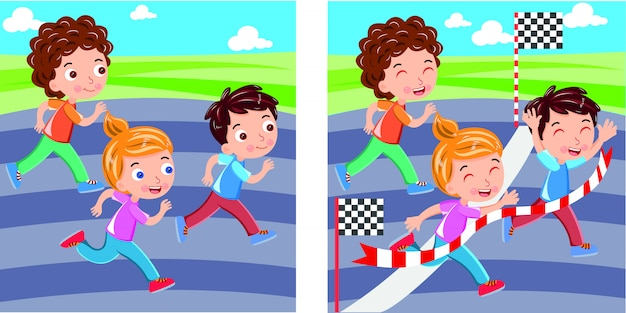 Maratón de niños corriendo hasta la meta. | Vector Premium