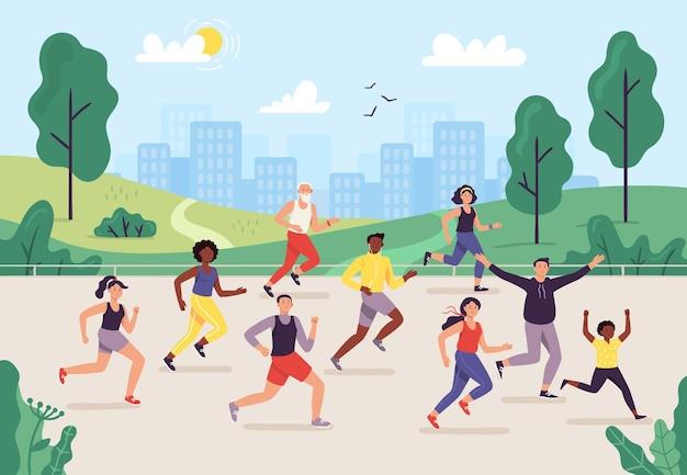 Maratón del parque. gente corriendo al aire libre, grupo de corredores y estilo de vida deportivo.