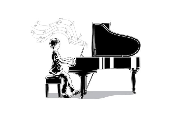 La maravillosa ilustración del pianista.