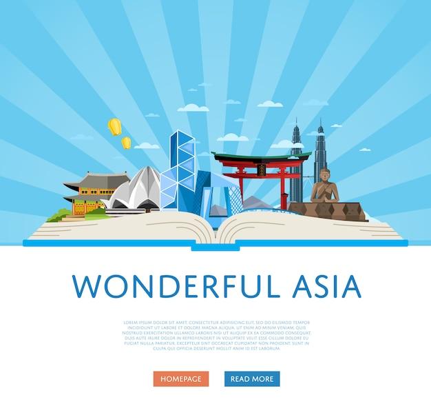 Maravillosa plantilla de viaje de asia con atracciones famosas.