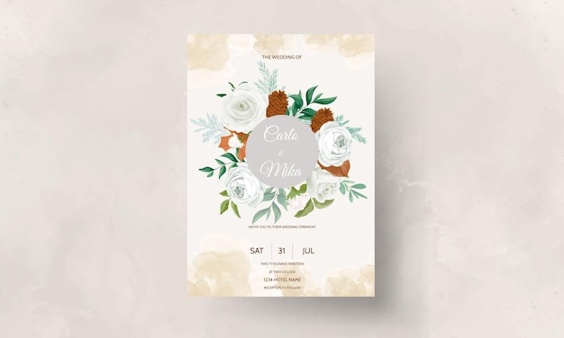 Maravillosa tarjeta de invitación de boda con hojas verdes, rosa blanca y flor de pino