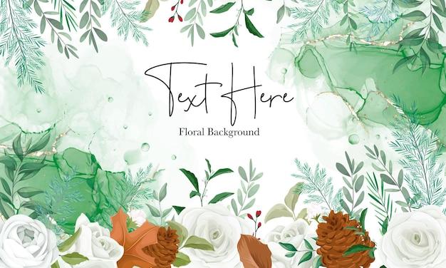 Maravilloso fondo floral con rosa blanca y flor de pino